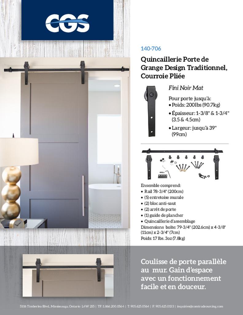 Coulisse Porte De Grange cgs barn door hardware kit - comtrad strategic sourcing